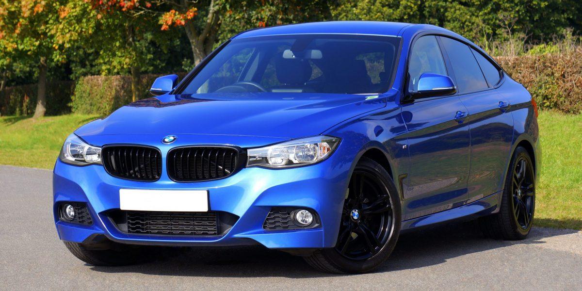 metallic blue car